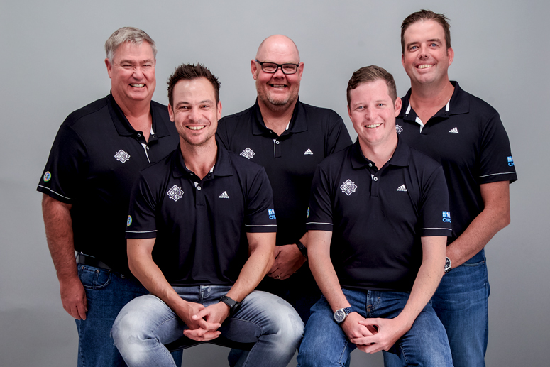 Ken Walker (manager), Werner Theart, Carl Potgieter, Rob Larsen and Brent Lyall.