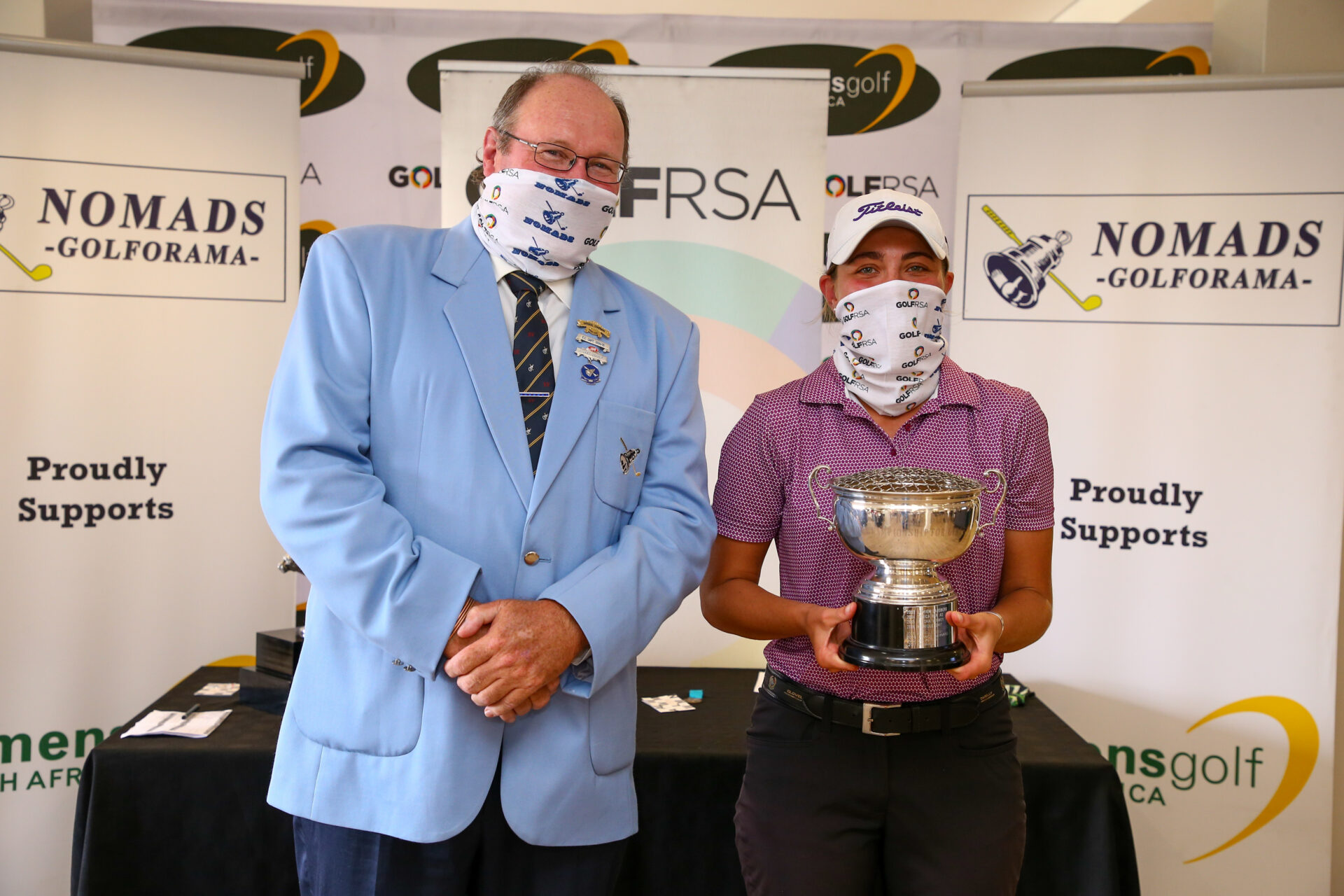 Cape Town, SOUTH AFRICA - Sunday April 25 2021:  during the prize giving of Nomads SA Girls Rose Bowl Championship at the Durbanville Golf Course. This is the first of two crown jewel event of Women's Golf South Africa. (Photo by Roger Sedres for GolfRSA)